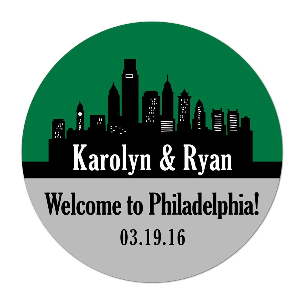 Philadelphia Pennsylvania Skyline Personalized Sticker Wedding Stickers - INKtropolis