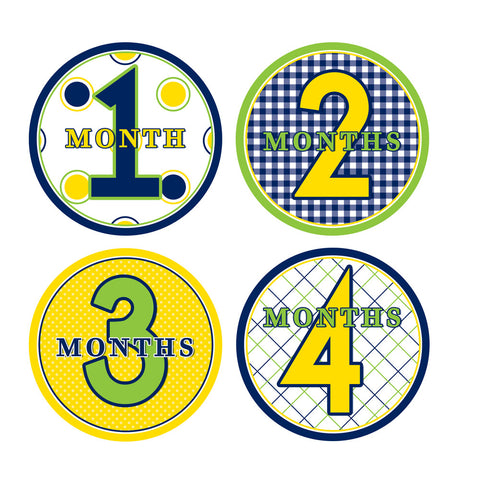 Lime, Yellow, Navy Patterened Monthly Baby Stickers