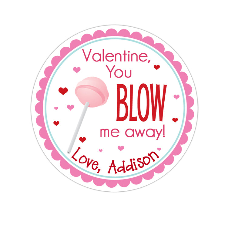 Pink Blow-Pop Valentines Day Personalized Sticker Valentines Day Stickers - INKtropolis