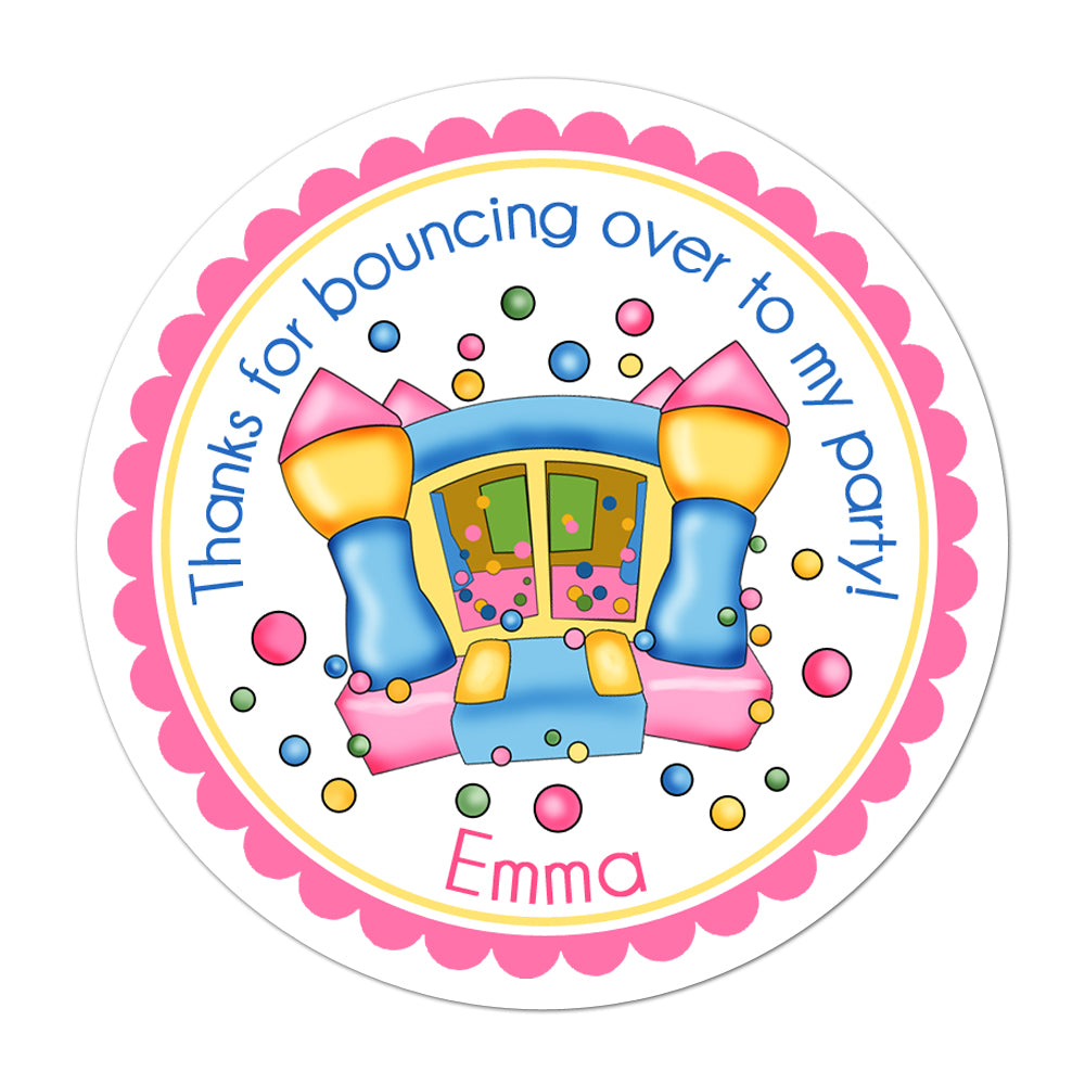 Girl Bounce House Personalized Sticker Birthday Stickers - INKtropolis