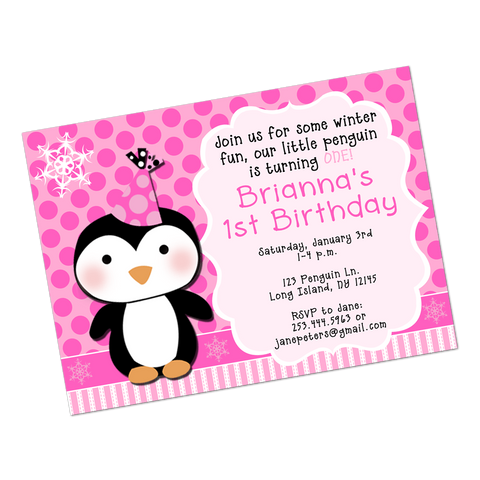 Party Penguin Digital Birthday Invitation