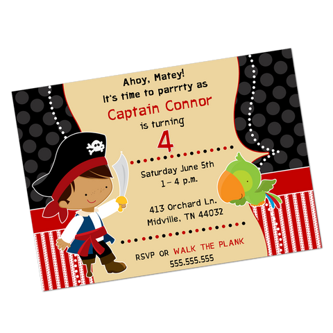 Dark Skinned Pirate Digital Birthday Invitation
