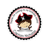 Brown Hair Pirate Captain Personalized Sticker Birthday Stickers - INKtropolis