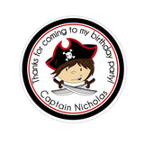 Brown Hair Pirate Captain Solid Border Personalized Sticker Birthday Stickers - INKtropolis
