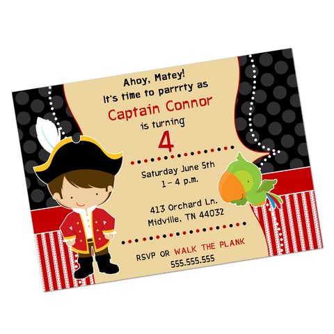 Pirate Captain Digital Birthday Invitation
