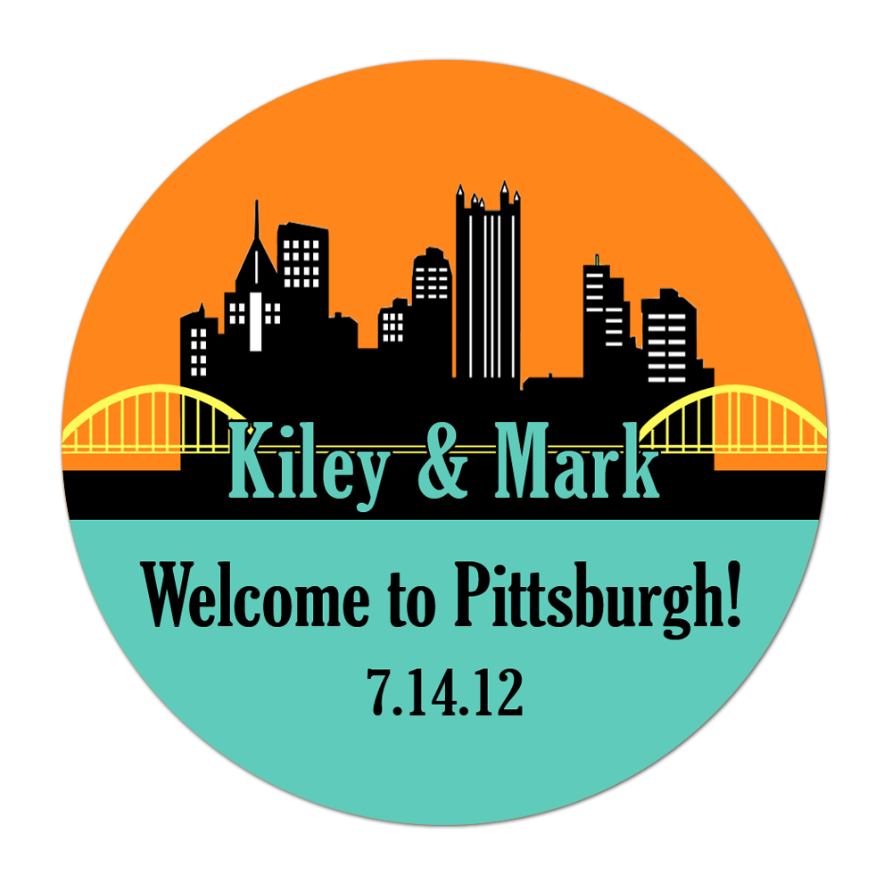 Pittsburgh Skyline Personalized Sticker Wedding Stickers - INKtropolis