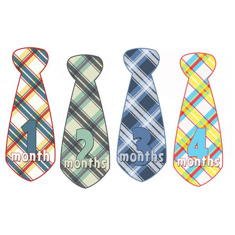 Colorful Plaid Monthly Baby Stickers - Tie Shaped