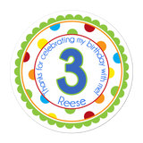 Age Number Wide Polka Dot Border Personalized Sticker Birthday Stickers - INKtropolis