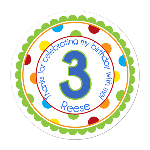 Age Number Wide Polka Dot Border Personalized Sticker