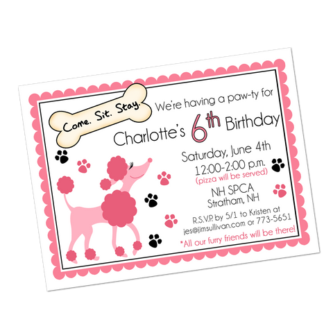 Poodle Digital Birthday Invitation