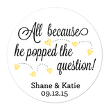 He Popped The Question Popcorn Personalized Sticker Wedding Stickers - INKtropolis