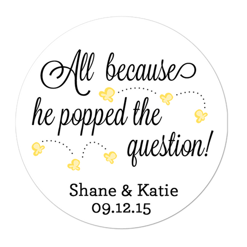 He Popped The Question Popcorn Personalized Sticker