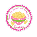 Popcorn Bowl Personalized Sticker Birthday Stickers - INKtropolis