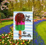 Personalized Summer Garden Flag - Big Popsicle