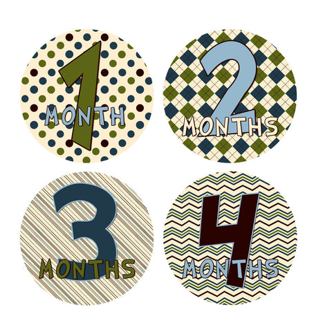 Argyle, Pinstripes, Polka Dot & Chevron Patterened Baby Month Stickers