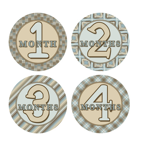 Blue & Brown Patterened Monthly Baby Stickers