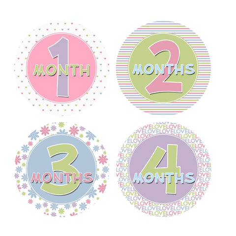 Pink, Purple, Green & Blue Monthly Baby Stickers
