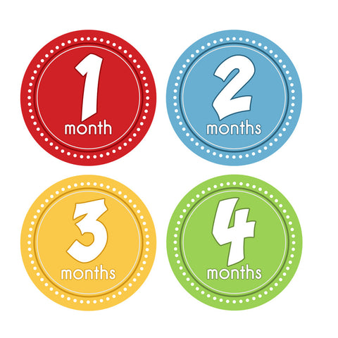 Primary Colored Monthly Baby Stickers