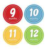 Primary Colored Monthly Baby Stickers onesie sticker - INKtropolis