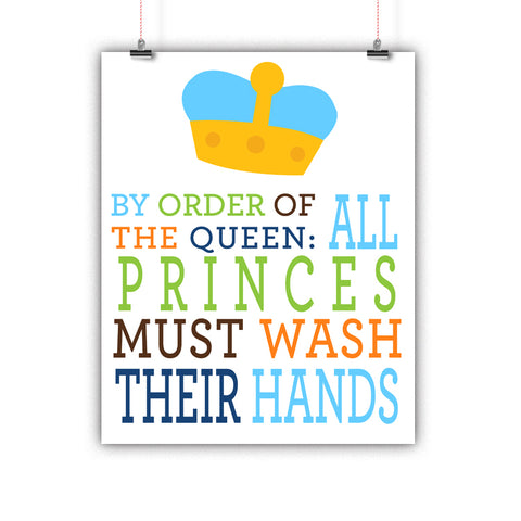Bathroom Kids Prince Rules Poster, Print, Framed or Canvas