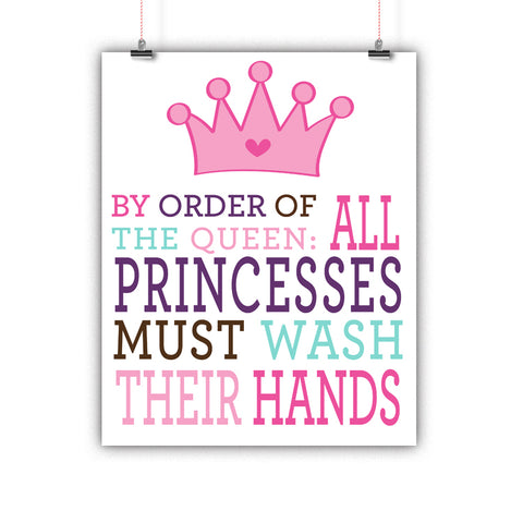 Bathroom Kids Princess Rules Wash Hands Poster, Print, Framed or Canvas