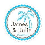 Palm Tree Personalized Sticker Wedding Stickers - INKtropolis