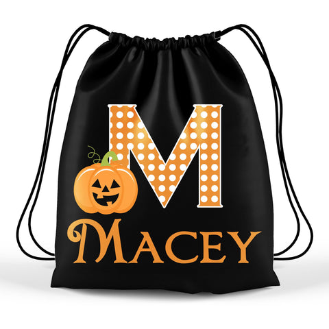 Personalized Halloween Trick Or Treat Bag, Kids Drawstring Bag - Pumpkin Monogram