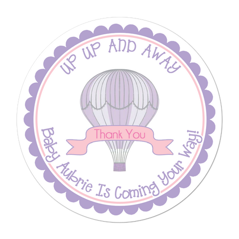 Hot Air Balloon Personalized Baby Shower Sticker