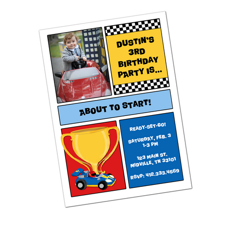 Race Car Digital Birthday Invitation