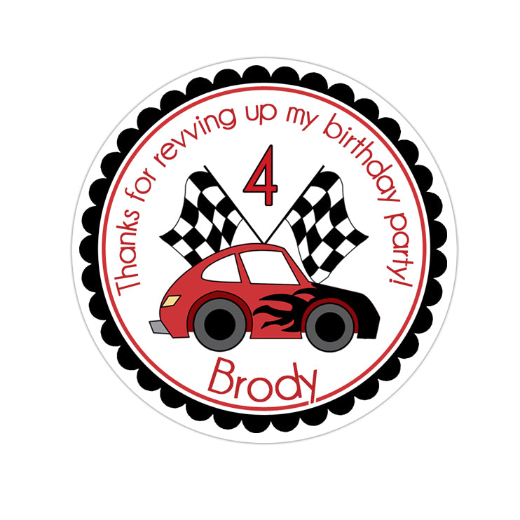 Red and Black Race Car Personalized Sticker Birthday Stickers - INKtropolis
