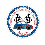 Red and Blue Race Car Personalized Sticker Birthday Stickers - INKtropolis