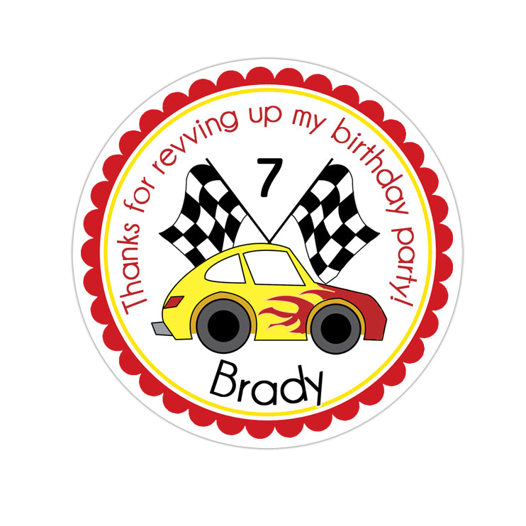 Red and Yellow Race Car Personalized Sticker Birthday Stickers - INKtropolis