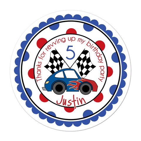 Race Car Wide Polka Dot Border Personalized Sticker