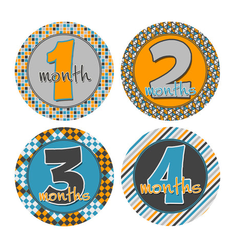 Gray, Blue, Orange Patterned Monthly Baby Stickers