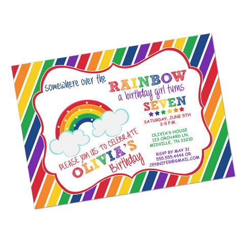 Rainbow Magic Primary Colored Digital Birthday Invitation