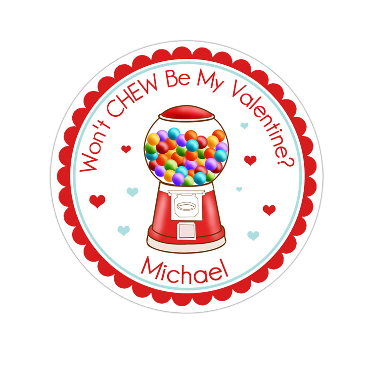 Red Gumball Machine Valentines Day Personalized Sticker Valentines Day Stickers - INKtropolis