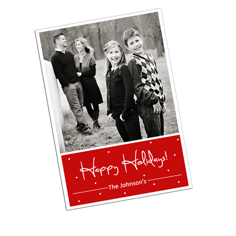Polka Dot Digital Holiday Photo Invitation