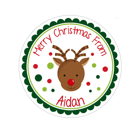 Reindeer Face Personalized Christmas Gift Sticker