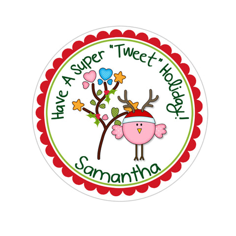 Pink Reindeer Bird Personalized Christmas Gift Sticker