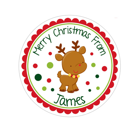 Cute Reindeer Personalized Christmas Gift Sticker