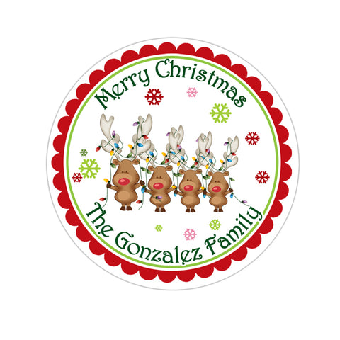 Reindeer Family Personalized Christmas Gift Sticker