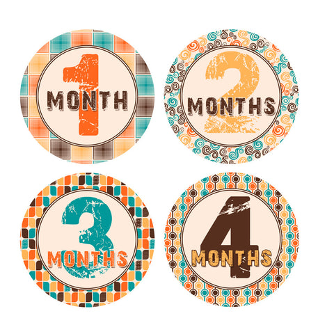 Retro 70's Patterned Monthly Baby Stickers