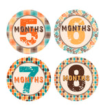 Retro 70's Patterned Monthly Baby Stickers onesie sticker - INKtropolis