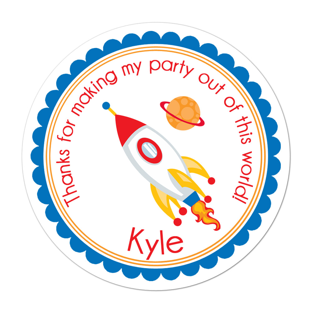 Rocket Ship Personalized Sticker Birthday Stickers - INKtropolis