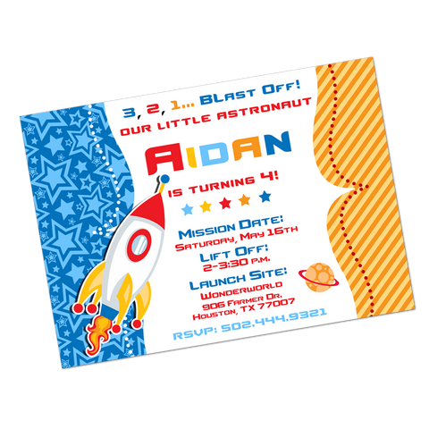 Rocket Ship Digital Birthday Invitation