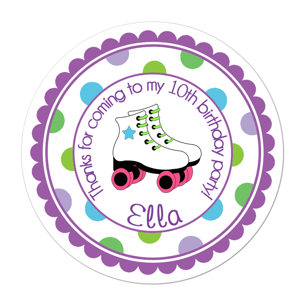 Roller Skate Wide Polka Dot Border Personalized Sticker Birthday Stickers - INKtropolis