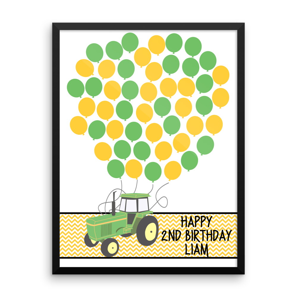 Personalized Birthday Guest Book Alternative - Tractor Balloons ...