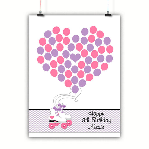 Personalized Birthday Guest Book Alternative - Roller Skate With Bows Balloons - Customized Poster, Print, Framed or Canvas, 50 Signatures