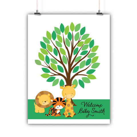 Personalized Baby Shower Guest Book Alternative - Safari