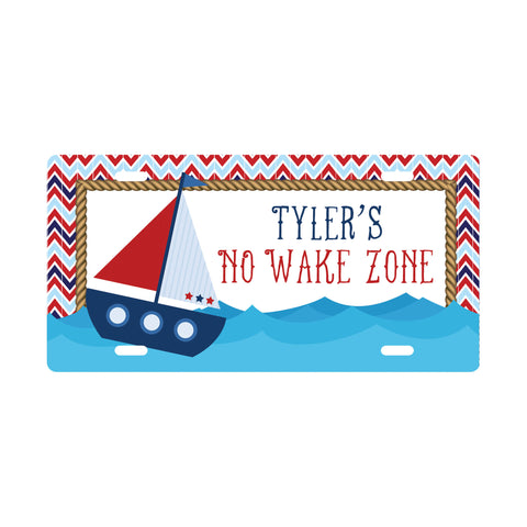 Personalized Sailboat License Plate Sign - Kids Door Sign
